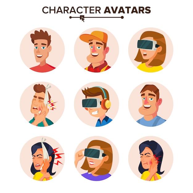 Menschen charaktere avatare set. Premium Vektoren