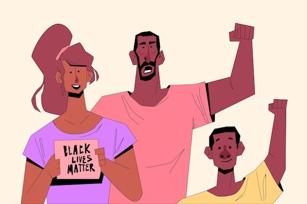 Menschen, die an der bewegung des schwarzen lebens teilnehmen, sind wichtig Kostenlosen Vektoren