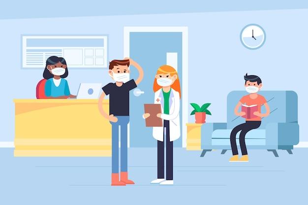 Menschen, die an einem krankenhausempfang warten, während sie medizinische masken tragen Kostenlosen Vektoren