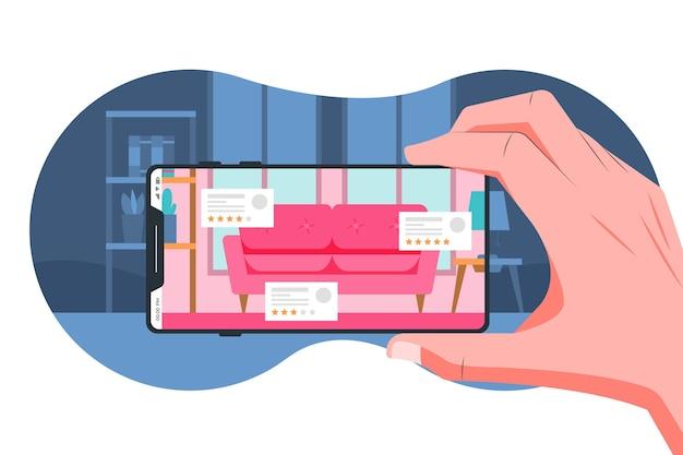Menschen, die augmented reality auf smartphones verwenden Kostenlosen Vektoren