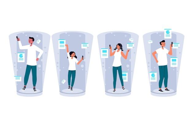 Menschen, die die dokumentierte realität auf smartphones nutzen Kostenlosen Vektoren