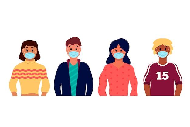 Menschen, die die mittlere ansicht der medizinischen maske tragen Kostenlosen Vektoren