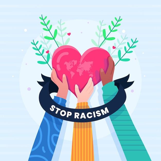 Menschen, die ein herz mit stop-rassismus-botschaft halten Kostenlosen Vektoren