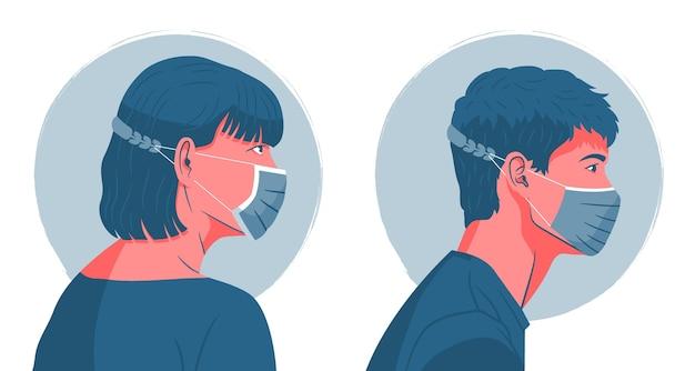 Menschen, die einen verstellbaren gesichtsmaskenriemen tragen Kostenlosen Vektoren