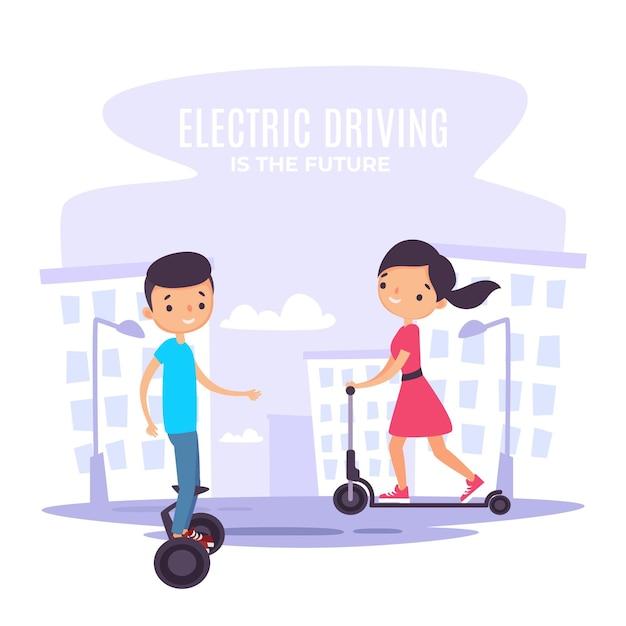 Menschen, die elektrotransport fahren Kostenlosen Vektoren