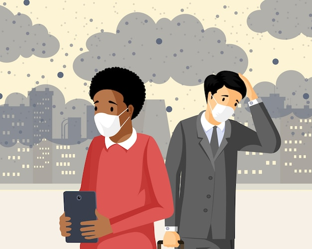 Menschen, die flache vektorillustration des smogs einatmen. industrieemissionen, co2-negativer gesundheitseinfluss, verschmutzte stadt mit gasabfällen. traurige männer, die unter giftigen schadstoffen leiden und atemprobleme haben Premium Vektoren
