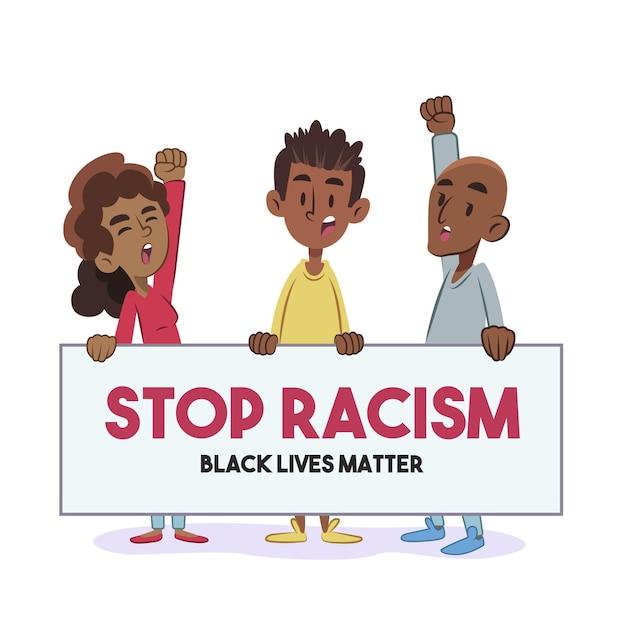 Menschen, die gegen rassismus protestieren Kostenlosen Vektoren