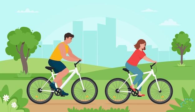 Menschen, die im frühling oder sommer im park fahrrad fahren. mann und frau ruhen beim sport. illustration im flachen stil Premium Vektoren