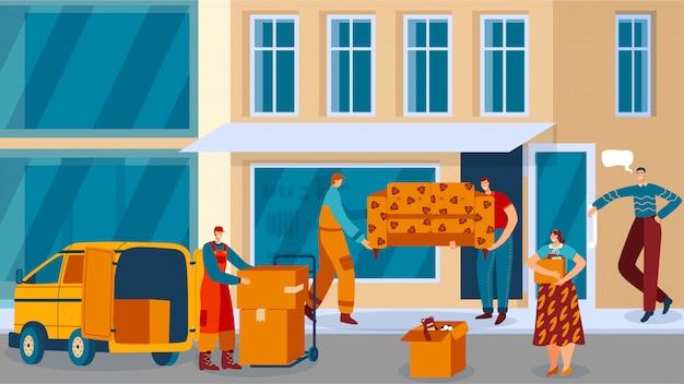 Menschen, die in eine neue stadtwohnung, einen möbeltransport und einen kistenlieferdienst ziehen, illustration Premium Vektoren