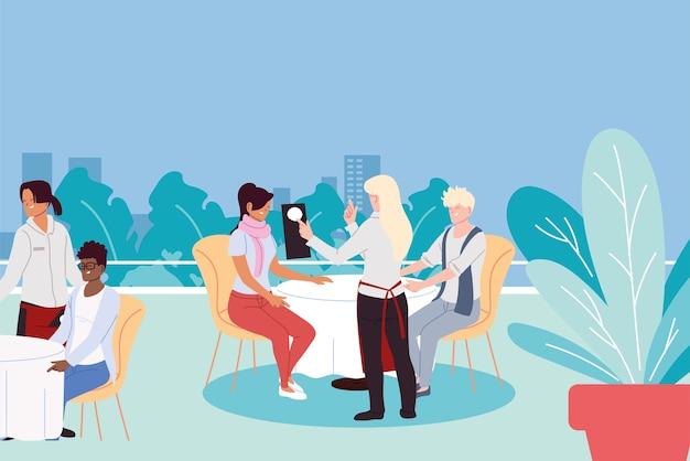 Menschen, die in einem gehobenen luxusrestaurant im freien speisen, und kellner, die das bestellillustrationsdesign nehmen Premium Vektoren