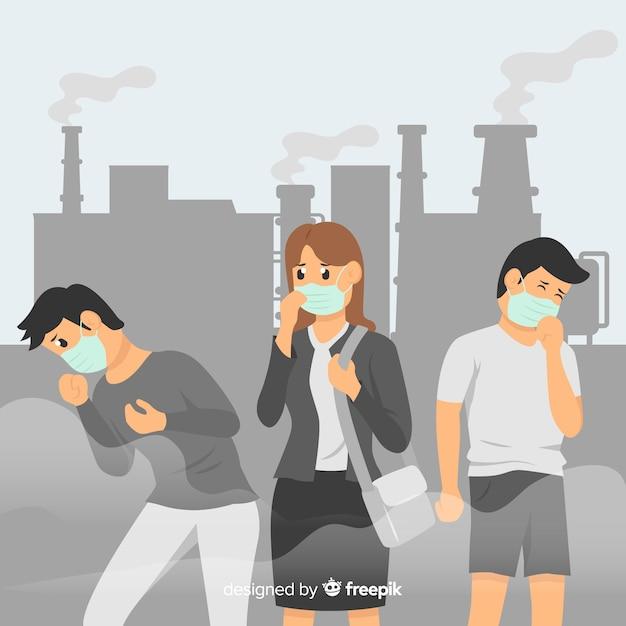 Menschen, die in einer stadt voller umweltverschmutzung leben Kostenlosen Vektoren