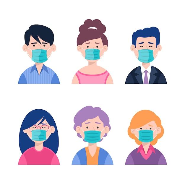 Menschen, die medizinische masken tragen Kostenlosen Vektoren