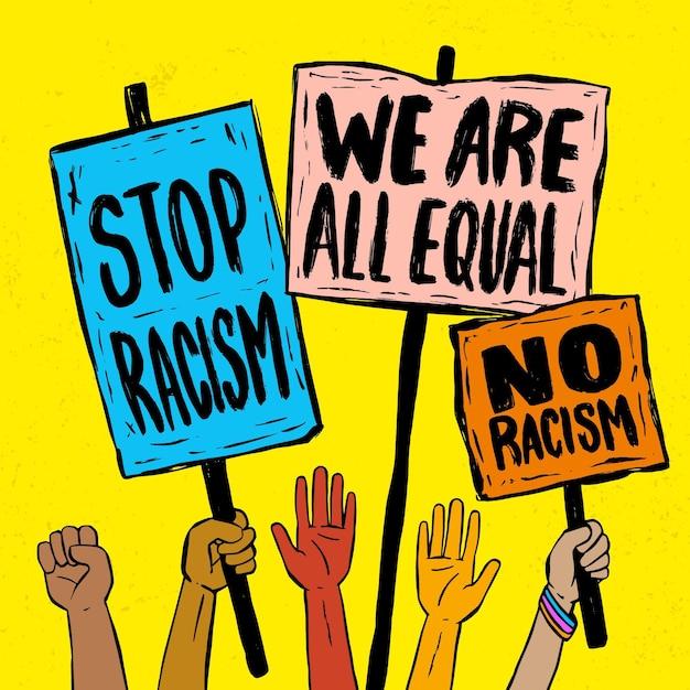Menschen, die mit plakaten gegen rassismus protestieren Kostenlosen Vektoren