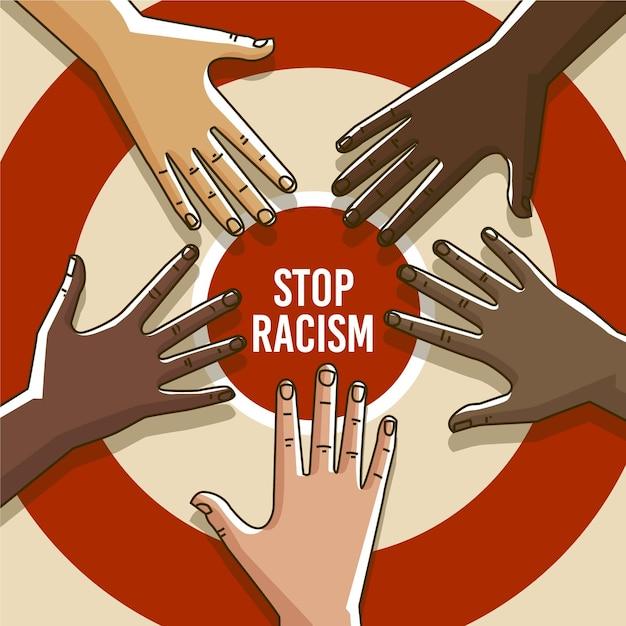 Menschen, die mit stop-rassismus-botschaft protestieren Kostenlosen Vektoren