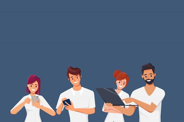 Menschen, die mobiltelefone für die kommunikation in sozialen netzwerken verwenden. Premium Vektoren