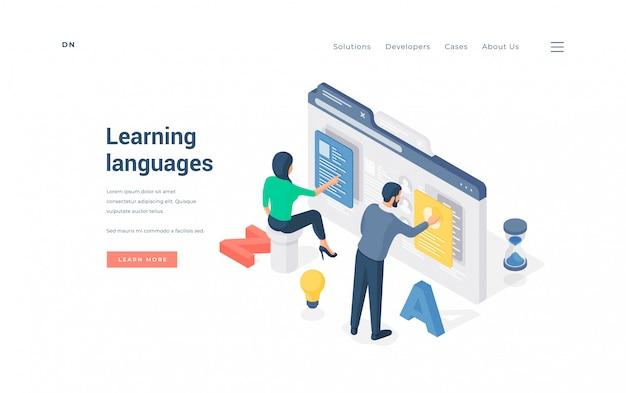 Menschen, die online fremdsprachen lernen. isometrischer mann und frau, die online-software verwenden, um fremdsprachen über das internet auf werbebanner der bildungswebsite zu lernen Premium Vektoren