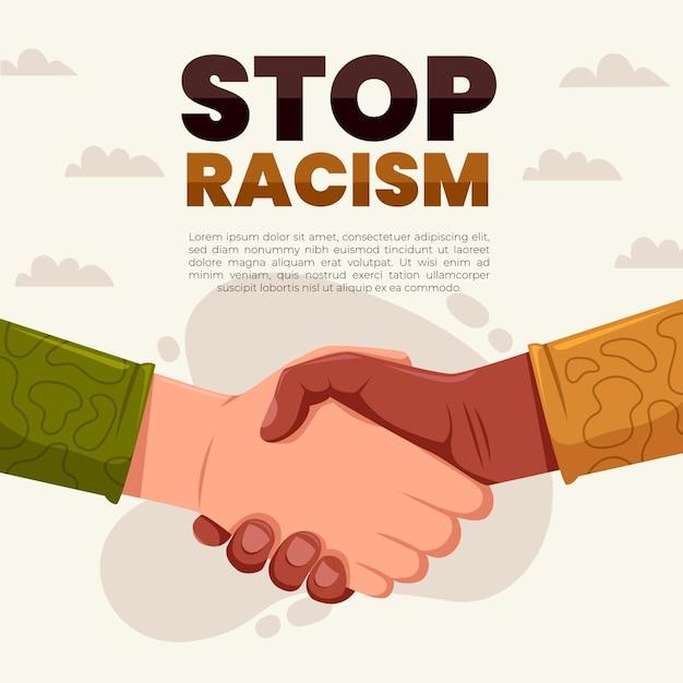 Menschen, die sich die hände schütteln, stoppen das rassismuskonzept Premium Vektoren