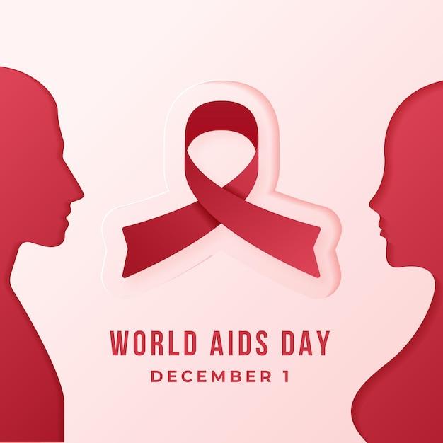 Menschen, die sich im papierstil für aids day ansehen Kostenlosen Vektoren