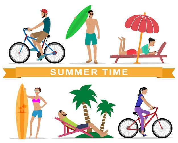 Menschen, die sich während der sommerferien entspannen Premium Vektoren