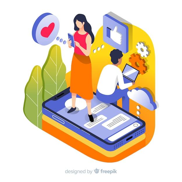 Menschen, die technologische geräte verwenden Kostenlosen Vektoren