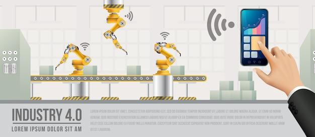 Menschen, die über ein smartphone eine verbindung zu einer fabrik herstellen und daten mit einem neuronalen netzwerk austauschen. Premium Vektoren