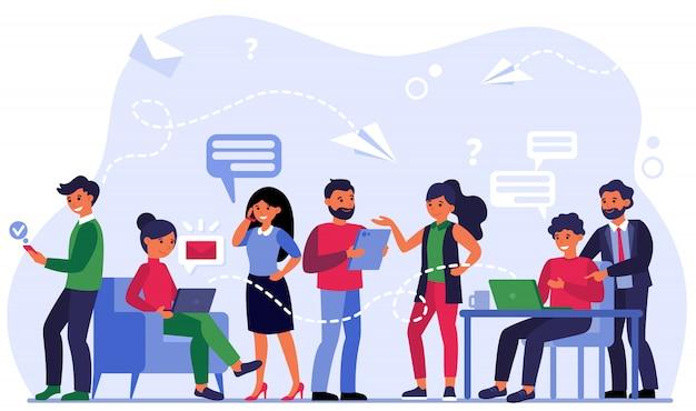Menschen, die über soziale medien kommunizieren Kostenlosen Vektoren
