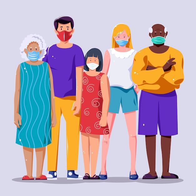 Menschen, die verschiedene gesichtsmasken tragen Kostenlosen Vektoren