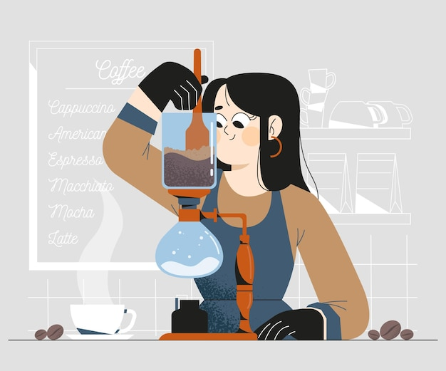 Menschen, die verschiedene kaffeemethoden herstellen Kostenlosen Vektoren
