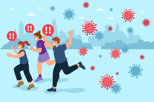 Menschen, die vor coronavirus-partikeln davonlaufen Kostenlosen Vektoren