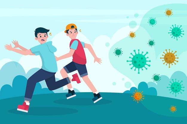 Menschen, die vor coronavirus-partikeln davonlaufen Premium Vektoren