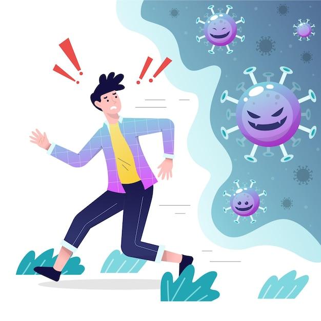 Menschen, die vor coronavirus-partikeln fliehen Kostenlosen Vektoren