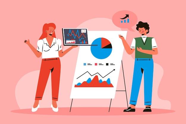 Menschen, die wachstumscharts analysieren Kostenlosen Vektoren