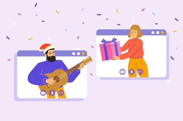 Menschen, die weihnachten feiern und geschenke per videoanruf oder webkonferenz in geben Premium Vektoren