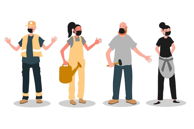 Menschen, die wieder zur arbeit gehen, während sie gesichtsmasken tragen Kostenlosen Vektoren