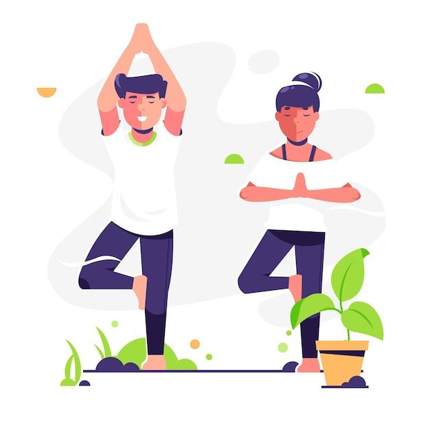 Menschen, die yoga machen Kostenlosen Vektoren