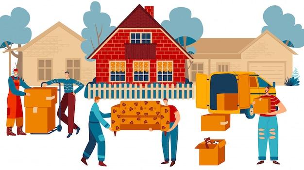 Menschen, die zu neuem haus, möbeltransport und kastenlieferdienst, illustration ziehen Premium Vektoren
