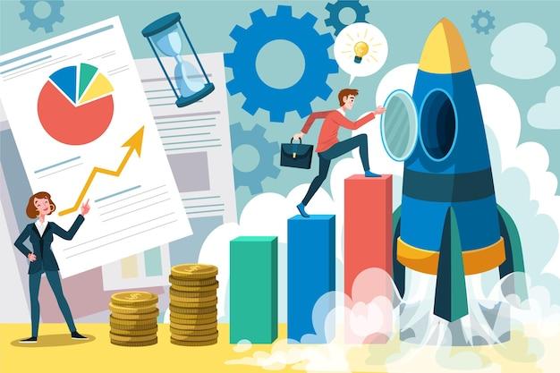 Menschen, die zusammen ein start-up machen Kostenlosen Vektoren