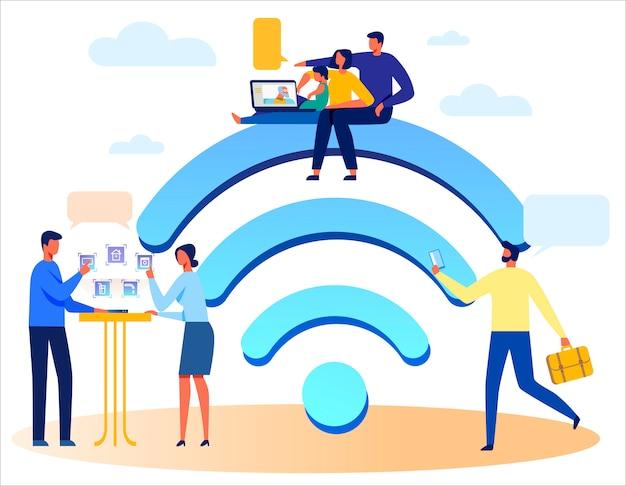 Menschen, drahtlose technologien und riesige wi-fi-zeichen Premium Vektoren
