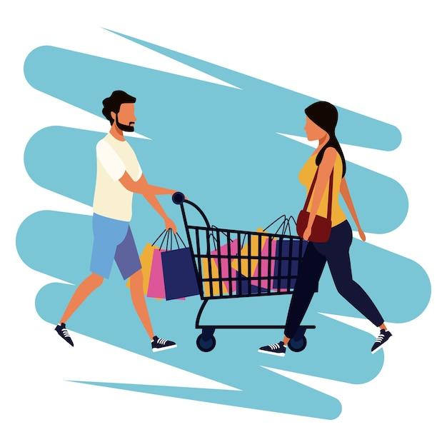 Menschen einkaufen cartoon Premium Vektoren