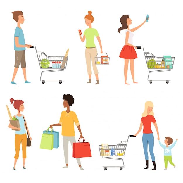 Menschen einkaufen. vektorillustrationen von verschiedenen charakteren, die käufe abschließen Premium Vektoren
