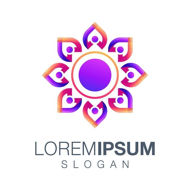 Menschen farbverlauf logo Premium Vektoren