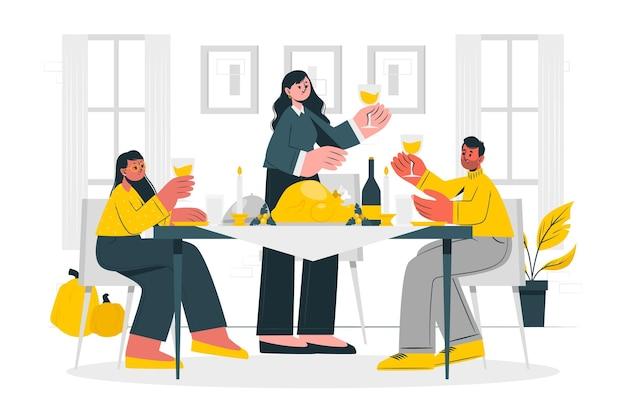 Menschen feiern thanksgiving-konzept illustration Kostenlosen Vektoren
