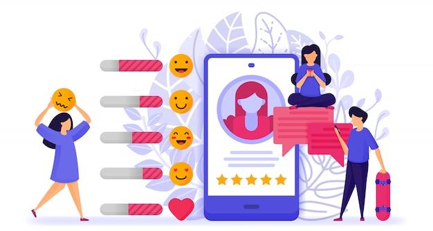 Menschen geben bewertungen und beurteilungen zum influencer-profil ab. Premium Vektoren