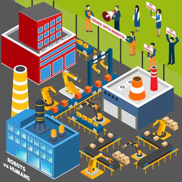 Menschen gegen die automatisierungsindustrie Kostenlosen Vektoren