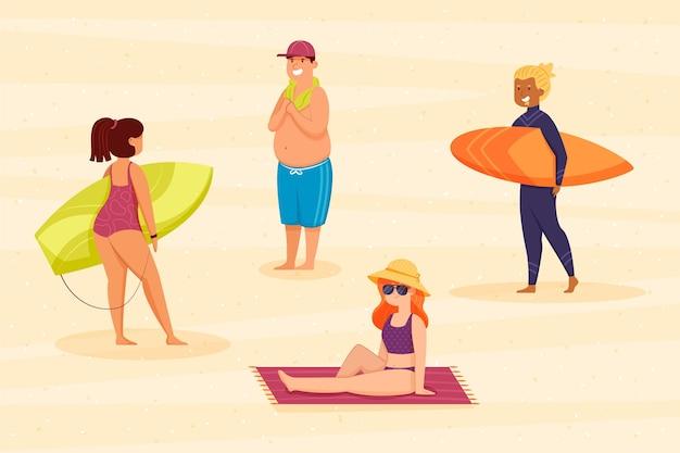 Menschen genießen ihren urlaub am strand Premium Vektoren