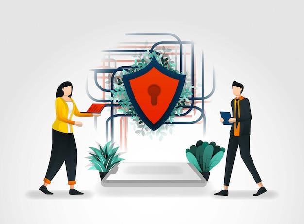 Menschen greifen auf ein gesichertes netzwerk zu Premium Vektoren