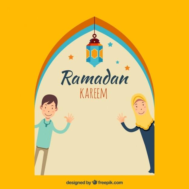 Menschen gruß ramadans karte Kostenlosen Vektoren