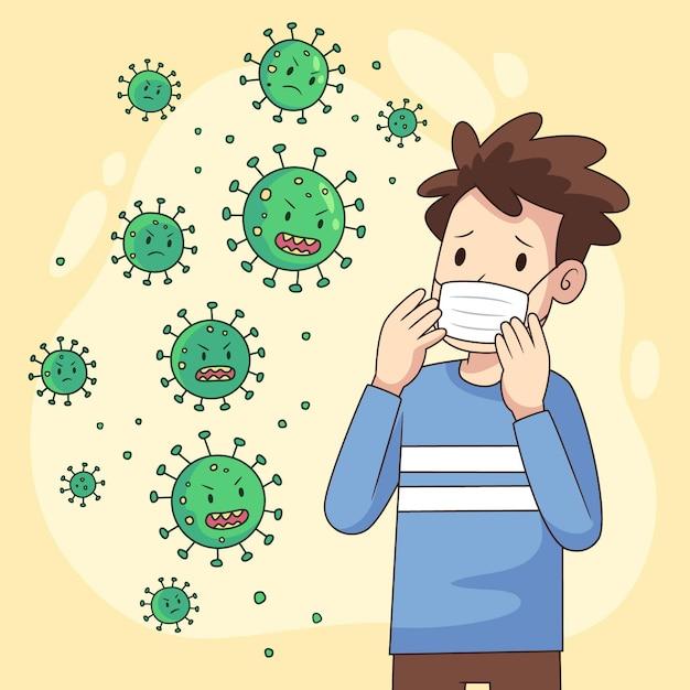 Menschen haben angst vor der coronavirus-krankheit Premium Vektoren