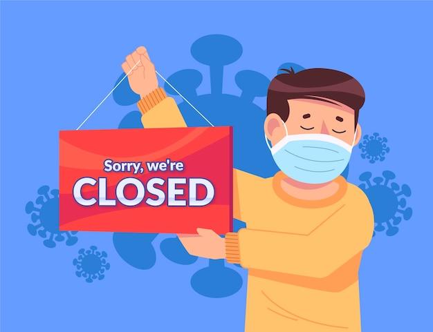 Menschen hängen ein geschlossenes schild wegen coronavirus Kostenlosen Vektoren