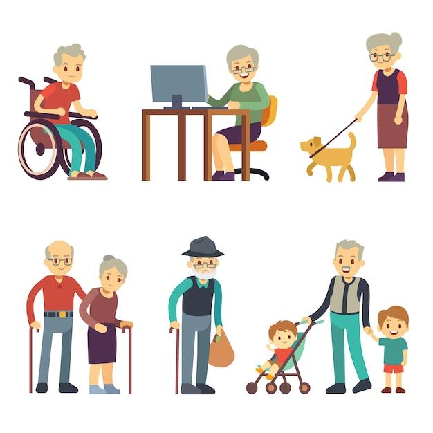 Menschen im alter in verschiedenen situationen. älterer mann und frauentätigkeits-vektorsatz. alte gehende abbildung der großmutter und des großvaters Premium Vektoren